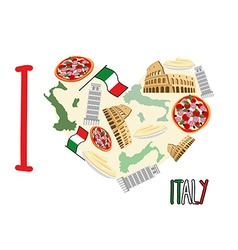 I love italy symbol heart of attractions of italy vector