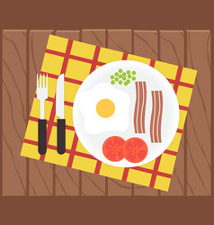 Breakfast time egg bacon and vegetables vector