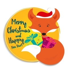 Holiday card with fox vector