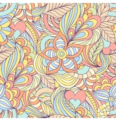 Pattern with abstract flowersleaves and lines vector