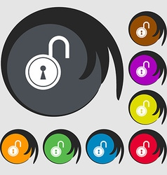 Open lock icon symbols on eight colored buttons vector