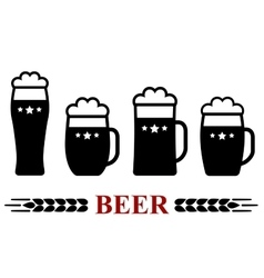 beer mug with froth set vector image