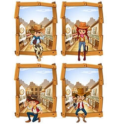 Four scenes of cowboys and cowgirl vector image