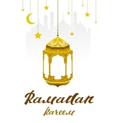 Ramadan kareem lettering text for greeting card vector