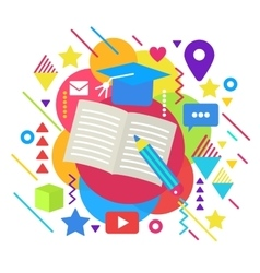 Abstract bright online university school education vector