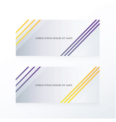 Abstract line banner purple yellow vector