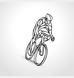 Abstract silhouette of bicyclist lineart bike vector