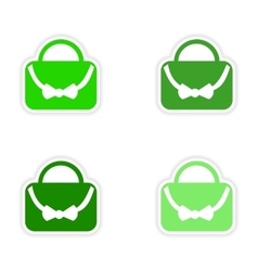 Assembly realistic sticker design on paper bags vector