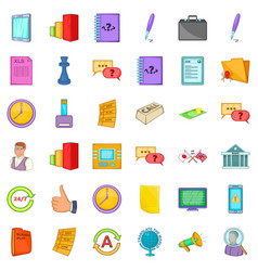 business planning icons set cartoon style vector image vector image