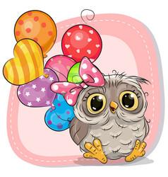 cute cartoon owl girl with balloons vector image vector image