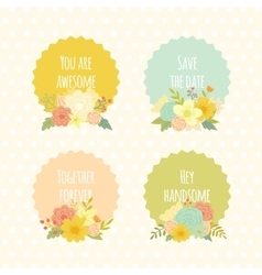 Cute labels with beautiful floral bouquets vector image