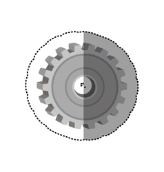 Dotted sticker gear wheel icon degraded vector