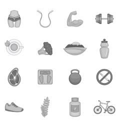Fitness icons set black monochrome style vector