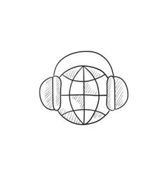 Globe in headphones sketch icon vector image vector image