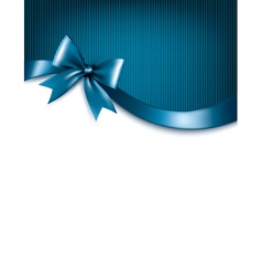 Holiday blue background with red gift glossy bow vector image vector image