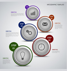 Info graphic with colorful design round pointers vector
