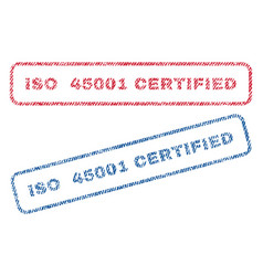 Iso 45001 certified textile stamps vector