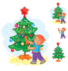 Little boy holds a christmas cracker in his hands vector