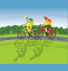 man and woman ride on bicycle on a country road vector image vector image