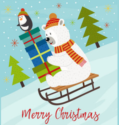 merry christmas card with polar bear vector image