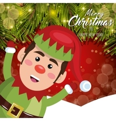 merry christmas greeting card elf cheerful snow vector image