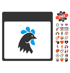 Rooster head calendar page icon with dating bonus vector