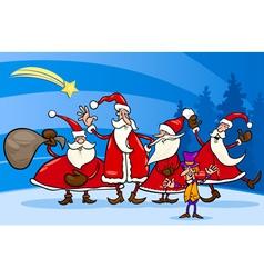 santa claus group cartoon vector image