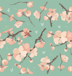 Seamless spring flowers on tree branch pattern vector