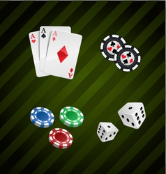 set of casino elements poker collection vector image vector image