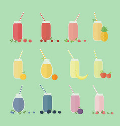 set of fruits and berries cocktails vector image