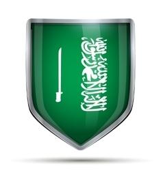 Shield with flag Saudi Arabia and ribbon vector image vector image