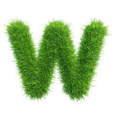 small grass letter w on white background vector image vector image