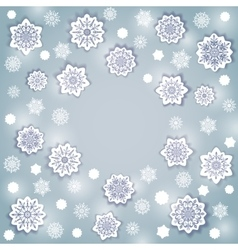 Snowflake round frame vector