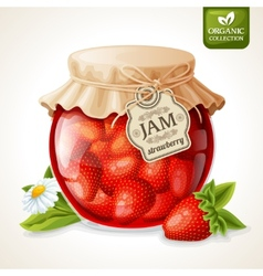 Strawberry jam in glass vector image