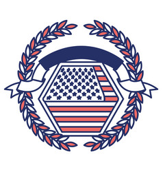 united states flag inside of hexagon with olive vector image