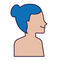 Woman profile shirtless avatar character vector