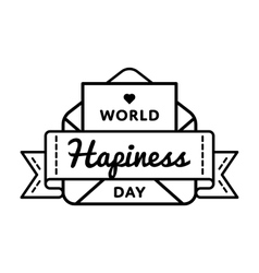 World Happiness day greeting emblem vector image