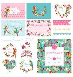 Scrapbook design elements wedding tropical flowers vector
