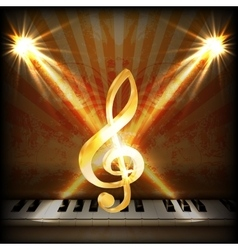 Musical background with a treble clef and piano vector