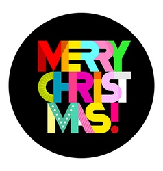 Merry christmas round shape text design vector
