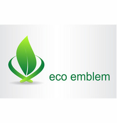 green leaves eco icon vector image