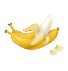 peeled and diced ripe bananas vector image