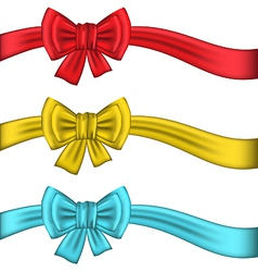 Collection colorful gift bows with ribbons vector