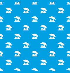 family under umbrella pattern seamless blue vector image