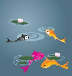 koi fish with lily pads vector image
