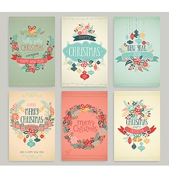 Christmas handdrawn cards vector