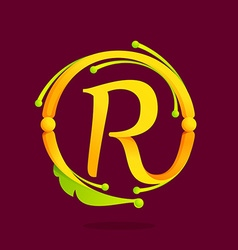 R letter monogram design elements vector