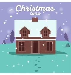 House in snowfall christmas greeting card vector