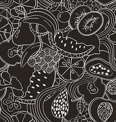 Psychedelic black and white fruit seamless pattern vector