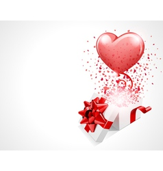 open gift present box with fly hearts and balloon vector image